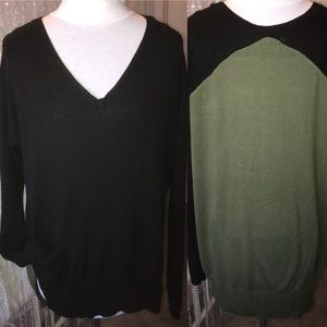 Yoon Anthro Sweater Top Pocket Ribbed Long Sleeves